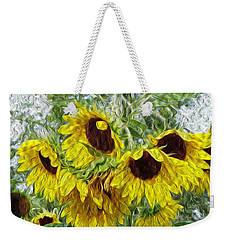 Weekender Tote Bag featuring the photograph Sunflower Morn II by Ecinja Art Works