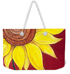 Sunflower On Red Weekender Tote Bag