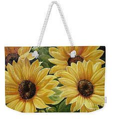Weekender Tote Bag featuring the painting Sunflower by Sorin Apostolescu
