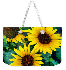 Weekender Tote Bag featuring the photograph Sunflower Trio  by Ann Powell