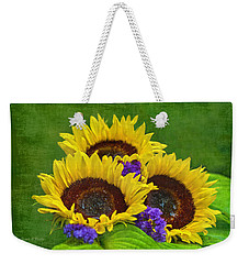 Sunflower Trio Weekender Tote Bag by Sandi OReilly