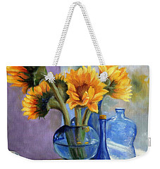 Sunflowers And Blue Bottles Weekender Tote Bag