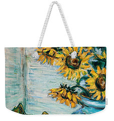 Sunflowers And Frog Weekender Tote Bag by Xueling Zou