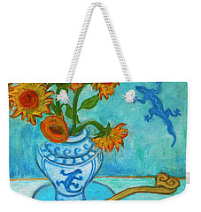 Weekender Tote Bag featuring the painting Sunflowers And Lizards by Xueling Zou