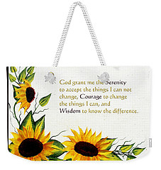 Sunflowers And Serenity Prayer Weekender Tote Bag