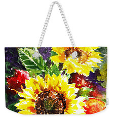 Weekender Tote Bag featuring the painting Sunflowers Impressionism by Irina Sztukowski