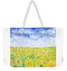 Sunflowers In A Field In  Texas Weekender Tote Bag