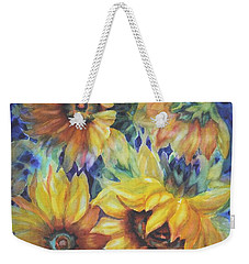 Sunflowers On Blue I Weekender Tote Bag
