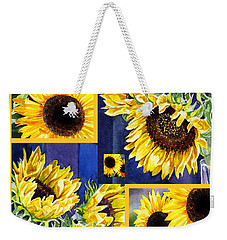 Weekender Tote Bag featuring the painting Sunflowers Sunny Collage by Irina Sztukowski