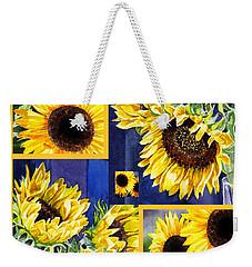 Sunflowers Sunny Collage Weekender Tote Bag by Irina Sztukowski