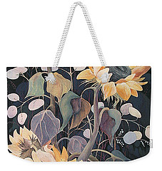 Weekender Tote Bag featuring the painting Sunflowers' Symphony by Marina Gnetetsky