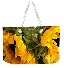 Weekender Tote Bag featuring the photograph Sunflowers With Foliage by Mary Bedy