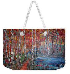 Sunlit Birch Pathway Weekender Tote Bag