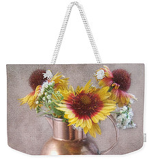 Weekender Tote Bag featuring the photograph Sunny Treasure Flowers In A Copper Jug by Louise Kumpf