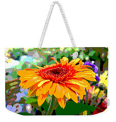Weekender Tote Bag featuring the photograph Sunny Gerbera by Jocelyn Friis