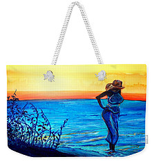 Weekender Tote Bag featuring the painting Sunrise Blues by Ecinja Art Works