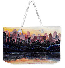 Weekender Tote Bag featuring the painting Sunrise City by Shana Rowe Jackson