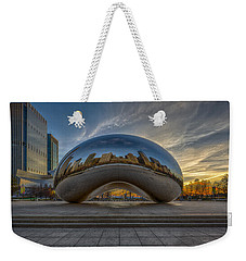 Weekender Tote Bag featuring the photograph Sunrise Cloud Gate by Sebastian Musial
