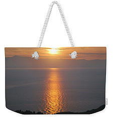 Weekender Tote Bag featuring the photograph Sunrise Erikousa 1 by George Katechis