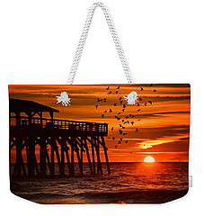 Sunrise In Myrtle Beach With Birds Flying Around The Pier Weekender Tote Bag