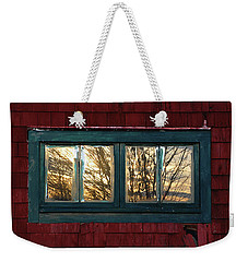 Weekender Tote Bag featuring the photograph Sunrise In Old Barn Window by Susan Capuano