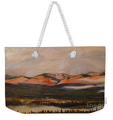 Weekender Tote Bag featuring the painting Sunrise On The Ibex Valley by Brian Boyle