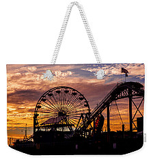 Sunset Amusement Park Farris Wheel On The Pier Fine Art Photography Print Weekender Tote Bag by Jerry Cowart