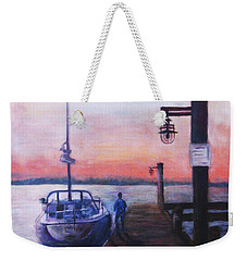 Weekender Tote Bag featuring the painting Sunset At Rocky Point by Sher Nasser
