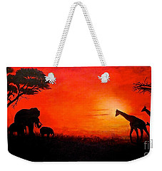 Weekender Tote Bag featuring the painting Sunset At Serengeti by Sher Nasser