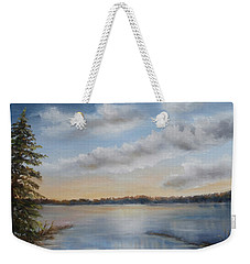 Weekender Tote Bag featuring the painting Sunset At Sparta Lake New Jersey by Katalin Luczay