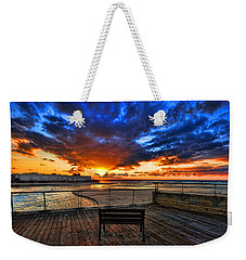 sunset at the port of Tel Aviv Weekender Tote Bag by Ron Shoshani