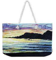 Weekender Tote Bag featuring the painting Sunset Beach by Shana Rowe Jackson