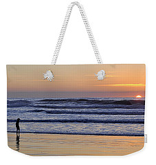 Weekender Tote Bag featuring the photograph Sunset Beach Stroll  by AJ  Schibig