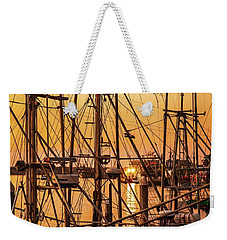 Sunset Boat Masts At Dock Morro Bay Marina Fine Art Photography Print Sale Weekender Tote Bag by Jerry Cowart