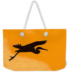 Weekender Tote Bag featuring the drawing Sunset Flight by D Hackett
