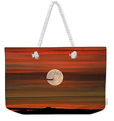 Sunset Flight With Full Moon Weekender Tote Bag by Donna Kennedy