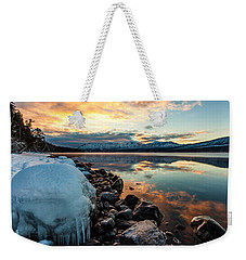 Weekender Tote Bag featuring the photograph Sunset Frozen by Aaron Aldrich