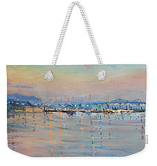 Sunset In Piermont Harbor Ny Weekender Tote Bag