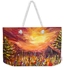 Sunset In Poppy Valley  Weekender Tote Bag by Lilia D