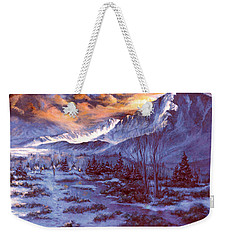 Weekender Tote Bag featuring the painting Sunset Indian Village by Donna Tucker