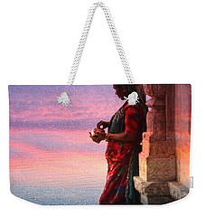 Sunset Lake Colorful Woman Rajasthani Udaipur India Weekender Tote Bag
