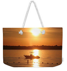 Weekender Tote Bag featuring the photograph Sunset On Boat by Karen Silvestri