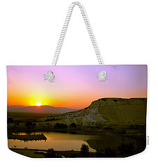 Weekender Tote Bag featuring the photograph Sunset On Cotton Castles by Zafer Gurel