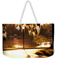 Weekender Tote Bag featuring the digital art Sunset On Lake Mizell by Valerie Reeves