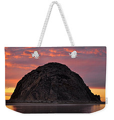 Weekender Tote Bag featuring the photograph Sunset On Morro Rock by AJ  Schibig
