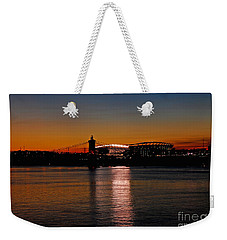 Weekender Tote Bag featuring the photograph Sunset On Paul Brown Stadium by Mary Carol Story