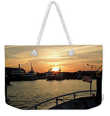 Weekender Tote Bag featuring the photograph Sunset Over The Marina by Ron Davidson