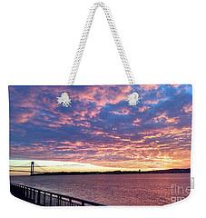Sunset Over Verrazano Bridge And Narrows Waterway Weekender Tote Bag by John Telfer
