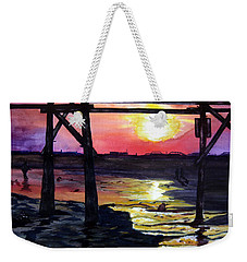 Weekender Tote Bag featuring the painting Sunset Pier by Lil Taylor