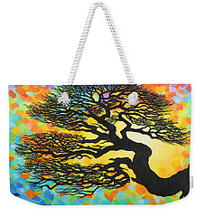 Weekender Tote Bag featuring the painting Sunset Pine by Jane Girardot